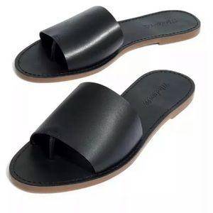 Madewell Boardwalk Post Slide Black Sandals NEW